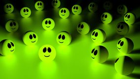 Stand out from the crowd green smiling face Royalty Free Stock Image