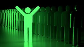 Stand out from the crowd happy glowing green man Royalty Free Stock Image