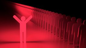 Stand out from the crowd happy glowing red man Stock Image
