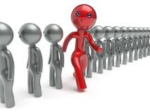 Stand out from the crowd individuality man different character. People red think differ unique person otherwise run to new opportunities concept referendum vote Royalty Free Stock Photography