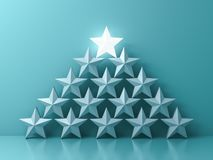 Stand out from the crowd and Leadership creative idea concepts One glowing light star standing on top of other dim stars on green royalty free stock photo
