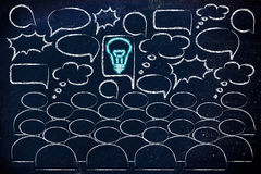 Stand out from the crowd, people talking and single glowing idea. One bright idea in the middle of a talking group of people, stand out from the crowd and be Royalty Free Stock Photography