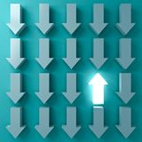 Stand out from the crowd and Think different concepts One light up arrow glowing among other down arrows on dark green pastel. Color background with shadows 3D vector illustration