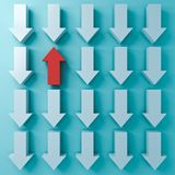 Stand out from the crowd and Think different concepts One red up arrow among other white down arrows on blue. Green pastel color background with shadows 3D royalty free illustration