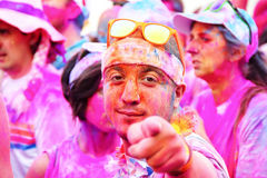 Stand out in the crowd. TORINO, ITALY  May 10, 2014: Color run held in Valentino's Park in May 2014. The color is run a foot race; it is present in more than Stock Image