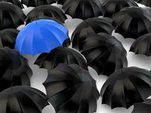 Stand out from the crowd - umbrella concept. A blue umbrella among black ones Royalty Free Stock Image