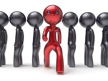 Stand out from the crowd unique different red character icon. Stand out from the crowd unique different red character people man think differ person otherwise Royalty Free Stock Image