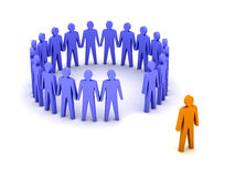 Stand out from the crowd. Unusual  person. Concept 3D illustration Royalty Free Stock Photography