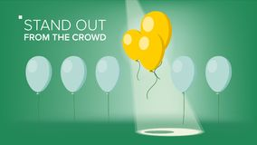 Stand Out From The Crowd Vector. Outstanding Balloon Different From Other. Business Success. Good Idea, Leadership. Flat. Stand Out From The Crowd Vector Stock Photo