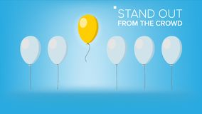 Stand Out From The Crowd Vector. Outstanding Flying Balloon On light Different From Other. Business Success. Good Idea. Stand Out From The Crowd Vector Royalty Free Stock Photo