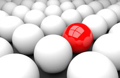 Stand out from the masses. 3d render illustration - red sphere stands out Stock Images