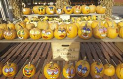 A Stand with Painted Pumpkins, New Jersey Royalty Free Stock Photography