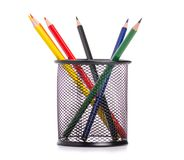 Stand for pencils colour pencils royalty free stock photography