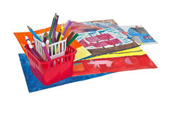 Childrens drawings and colored pencils Royalty Free Stock Image