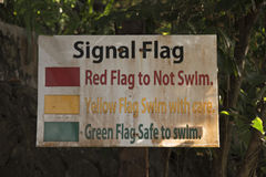 Stand with pictures of signal flags for swimming. Old stand with pictures of signal flags for swimming in the sea Stock Photography