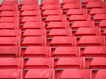 Stand Platform in Perspective with Red Plastic Seats Royalty Free Stock Photography