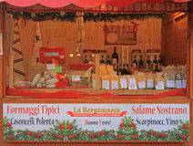 Stand with products at the chrismas fair in Royalty Free Stock Image
