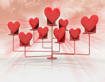 Stand with red hearts with flare Stock Images