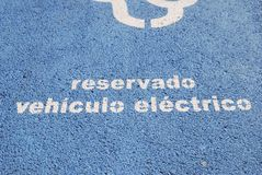 Electric Vehicle charging stand. Barcelona. Spain. Stand in road for charging electric vehicles on the seafront in Barcelona. Spain Stock Photo