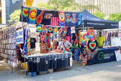 Stand selling  colorful hippie clothes at a street fair in New York Royalty Free Stock Image