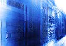 Stand with server hardware and lighting in the room motion blur stock images