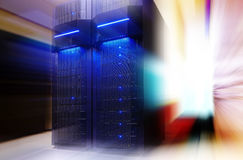 Stand with server hardware and lighting in room motion blur stock photos