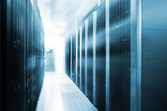 Stand with server hardware and lighting in room motion blur royalty free stock image