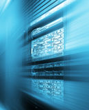Stand with server hardware and lighting in room motion blur stock photography
