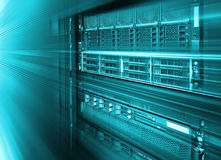 Stand with server hardware and lighting in the room motion blur. Stand with server hardware and lighting in room motion blur Royalty Free Stock Images
