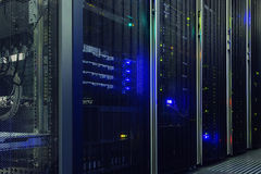 Stand with server hardware and lighting in the server room royalty free stock photo