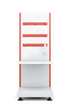 Stand with shelves and hooks for product  on a white bac. Kground. Front view. 3d rendering Royalty Free Stock Image