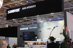 The stand of Shure on March 20, 2015 Royalty Free Stock Image