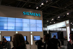 Stand of Siemens in CEBIT computer expo Stock Photo