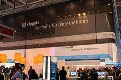 Stand of Sipgate in CEBIT computer expo Royalty Free Stock Images