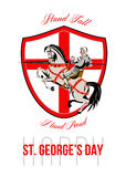 Stand Tall Happy St George Day Retro Poster Stock Image