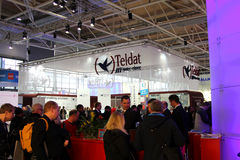 Stand of Teldat in CEBIT computer expo Royalty Free Stock Photos