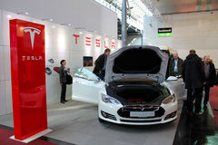 The stand of Tesla Motors on March 20, 2015 Stock Image