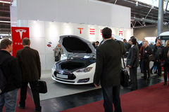 The stand of Tesla Motors on March 20, 2015 Stock Photos