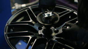 Stand for testing of wheel and tire.  stock video