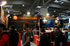 Stand of Thermaltake at CEBIT computer expo. HANNOVER - MARCH 10: stand of Thermaltake on March 10, 2012 at CEBIT computer expo, Hannover, Germany. CeBIT is the Stock Photography