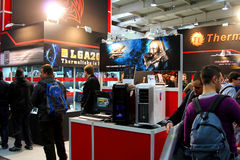 Stand of Thermaltake at CEBIT computer expo. HANNOVER - MARCH 10: stand of Thermaltake on March 10, 2012 at CEBIT computer expo, Hannover, Germany. CeBIT is the Stock Images