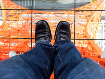 Stand on the Tokyo tower. A man stand on the Tokyo tower Royalty Free Stock Image