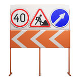 Stand with traffic signs on white background. 3d illustration Royalty Free Stock Photography