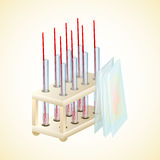 Stand tubes tests and glasses to the slides. Laboratory for tests. Vector illustration Royalty Free Stock Image