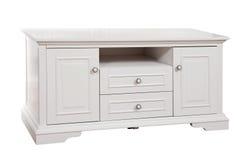 Stand (TV) en bois blanc, avec le chemin de découpage Photo libre de droits