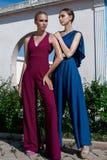 Stand und Haltung mit zwei Mädchen Lizenzfreies Stockfoto
