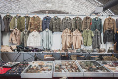 Stand with uniforms at Militalia in Milan, Italy Stock Images
