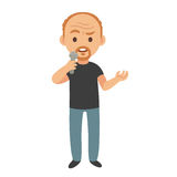 Stand up comedian. Middle aged stand up comedian or talk show host, isolated vector cartoon character illustration vector illustration