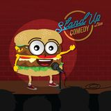 Stand up comedy burger open mic. Vector Stock Photo