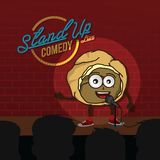 Stand up comedy cream puff open mic. Vector Royalty Free Stock Photography